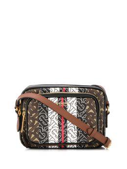 Burberry сумка с монограммой и принтом в полоску 8021485