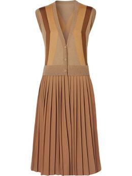 Burberry трикотажное платье без рукавов с V-образным вырезом 4560902