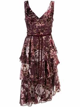 Marchesa Notte платье асимметричного кроя с цветочным принтом N35C1029