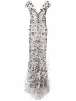 Marchesa вечернее платье с бахромой из перьев M26823