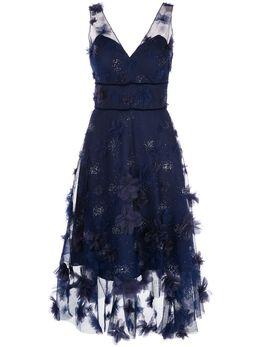 Marchesa Notte платье асимметричного кроя с цветочным принтом N35C1111