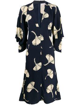 Victoria Beckham платье миди с V-образным вырезом и драпировкой 1120WDR000825B