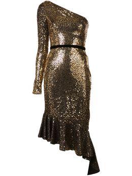 Marchesa Notte платье асимметричного кроя с длинным рукавом и блестками N35C1085