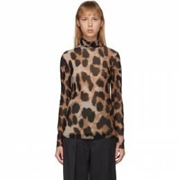 Ganni Brown and Beige Mesh Leopard Turtleneck T2506
