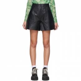 Ganni Black Leather Shorts F4560