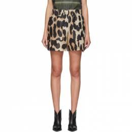 Ganni Brown and Beige Silk Linen Leopard Shorts F4643