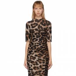 Ganni Brown and Beige Mesh Leopard T-Shirt T2504