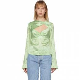 Ganni Green Silk Floral Blouse F4515