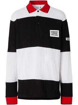 Burberry рубашка-поло в полоску с вышивкой 8023978