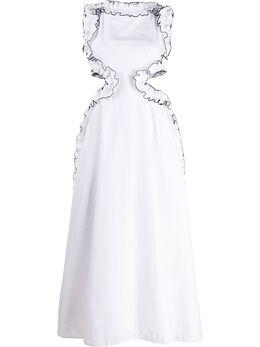 Christopher Kane платье с оборками RE20DR3319TAILOREDCOTTONWHITE