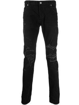 Balmain джинсы кроя слим с эффектом потертости TH15230Z039