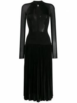 Victoria Beckham плиссированное платье миди с длинными рукавами 1120KDR000561A