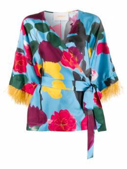 La Doublej топ-кимоно Prom Azzurro с принтом SHI0041SIL001