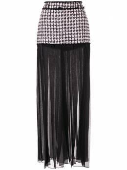 Balmain прозрачная плиссированная юбка со вставкой в ломаную клетку SF04890W055