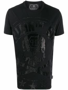 Philipp Plein футболка с декором Skull S20CMTK4335PJY002N