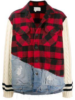 Greg Lauren клетчатая куртка с контрастными вставками M010M