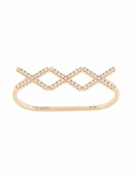 Alinka 18kt rose gold KATIA TRIO diamond two-finger ring ZABD003918R25