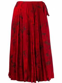 Valentino плиссированная юбка миди с цветочным принтом SB3RA4V64PD