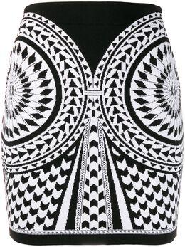 Balmain жаккардовая юбка TF14020K003