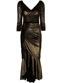 Marchesa Notte платье с оборками и рукавами три четверти N35C1088