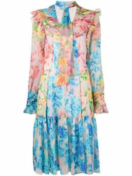 Blumarine платье с цветочным принтом и оборкой 14503