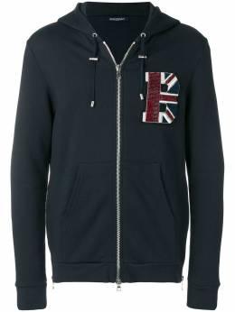 Balmain flag patch hoodie W8H6643J190B