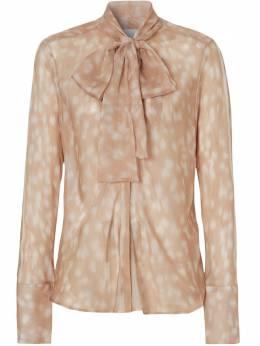 Burberry блузка с бантом и принтом 8024255