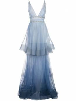 Marchesa Notte ярусное платье с эффектом омбре N36G1126
