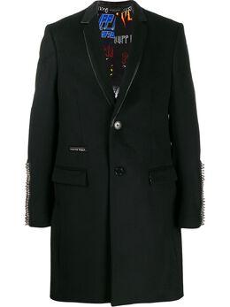 Philipp Plein однобортное пальто с заклепками S20CMRA0313PTE003N