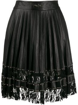 Philipp Plein плиссированная юбка с кружевом S19CWLV0028PLE002N