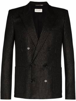 Saint Laurent двубортный пиджак в тонкую полоску 596947Y1A89