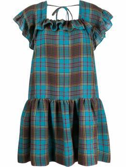 Pushbutton расклешенное платье мини в клетку PB2010508W