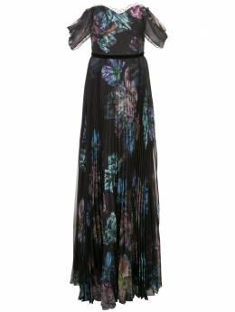 Marchesa Notte вечернее платье с цветочным принтом и драпировкой N35G1072