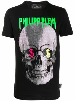 Philipp Plein футболка с декором Skull S20CMTK4331PJY002N