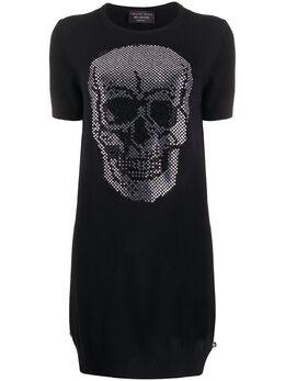 Philipp Plein трикотажное платье с декором Skull S20CWKG0266PKN002N