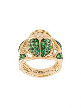 Aurelie Bidermann кольцо 'Scarab' с цаворитами и бриллиантами BEEBA01G