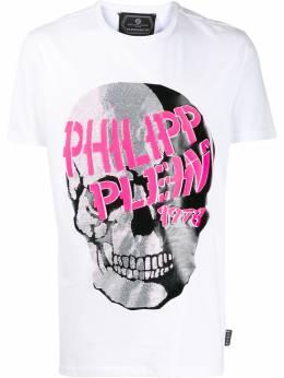 Philipp Plein футболка с декором Skull S20CMTK4348PJY002N