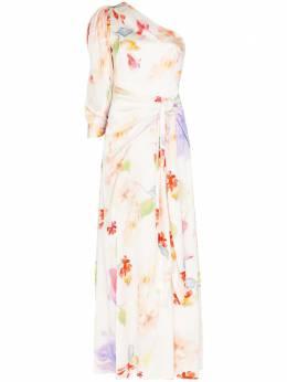 Peter Pilotto вечернее платье с цветочным принтом и драпировкой 20PSDR341018WHI
