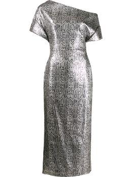 Christopher Kane платье со змеиным принтом и пайетками RE20DR3345SNAKESKINSILVER