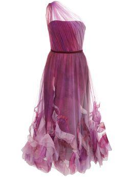Marchesa Notte платье миди из тюля с открытыми плечами N37M1163