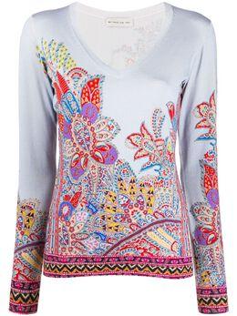 Etro футболка с цветочной вышивкой 138539672