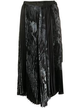 Sacai плиссированная юбка миди с принтом 2004835