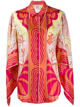Emilio Pucci блузка с драпировкой и принтом 0ERJ150E731