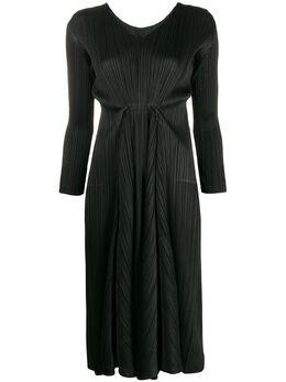 Pleats Please Issey Miyake плиссированное платье миди с длинными рукавами PP06JH604