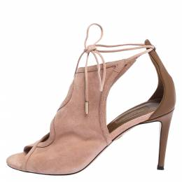 Aquazzura Pink Suede Leather Cut Out Ankle Wrap Open Toe Sandals Size 38 282431