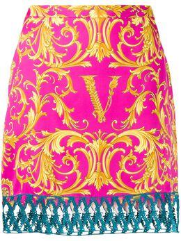 Versace юбка прямого кроя с принтом Barocco A85685A233235