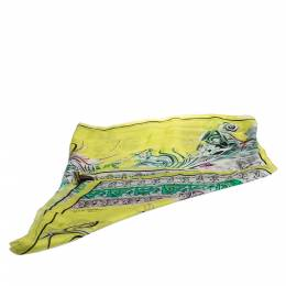 Roberto Cavalli Yellow Abstract Printed Silk Scarf 284675