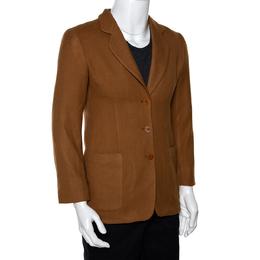 Giorgio Armani Vintage Brown Herringbone Wool Blazer XXS 282061