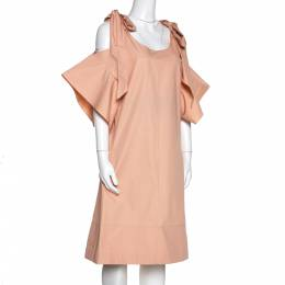 Chloe Pansy Pink Cotton Bow Detail Cold Shoulder Dress M 282404