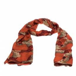 Roberto Cavalli Orange Animal Print Silk Scarf 284665